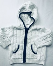 Baby Gap Infant Vintage White Blue Zippered Sweater Hooded Hoodie LS Sz ... - $16.36