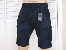 Armani Exchange Authentic Utility Zipper Detail Shorts Blue Camo Nwt - $42.99