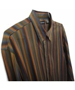 Jhane Barnes Silk Shirt Large Rainbow Brown Green Blue Striped Long Slee... - $13.38