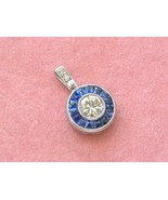 ART DECO STYLE .38ct DIAMOND SOLITAIRE SAPPHIRE HALO PLATINUM SMALL PENDANT - £947.14 GBP
