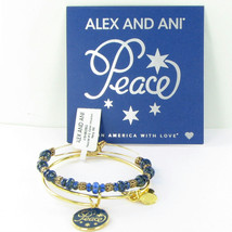 Alex and Ani Peace Set of 2 Navy Blue Color Infusion Gold Bracelet 2016 NWT Box - $38.80