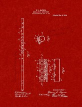 Musical Wind Instrument Patent Print - Burgundy Red - $7.95+