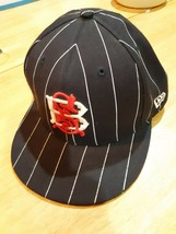 "New Era 59 Fifty baseball cap black pinstripe wool 7 1/2"" - $9.89"