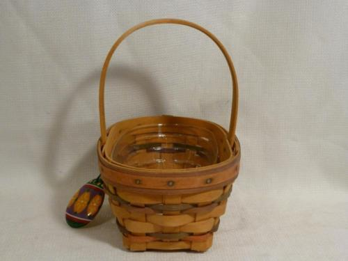 1997 LONGABERGER small oval Easter BASKET & protector, egg tie on - combo
