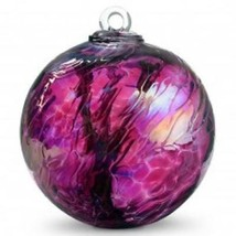 "6"" European Art Glass Spirit Tree Wine Red Iridized Witch Ball Kugel - $41.23"