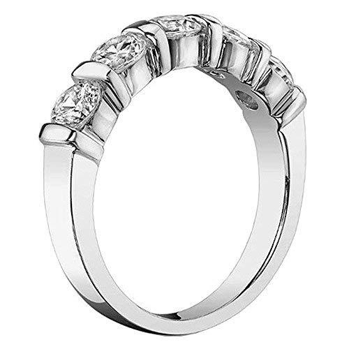 VIP Jewelry Art 1.00 CT TW Channel Bars 5-Stone Diamond Wedding Ring in Platinum