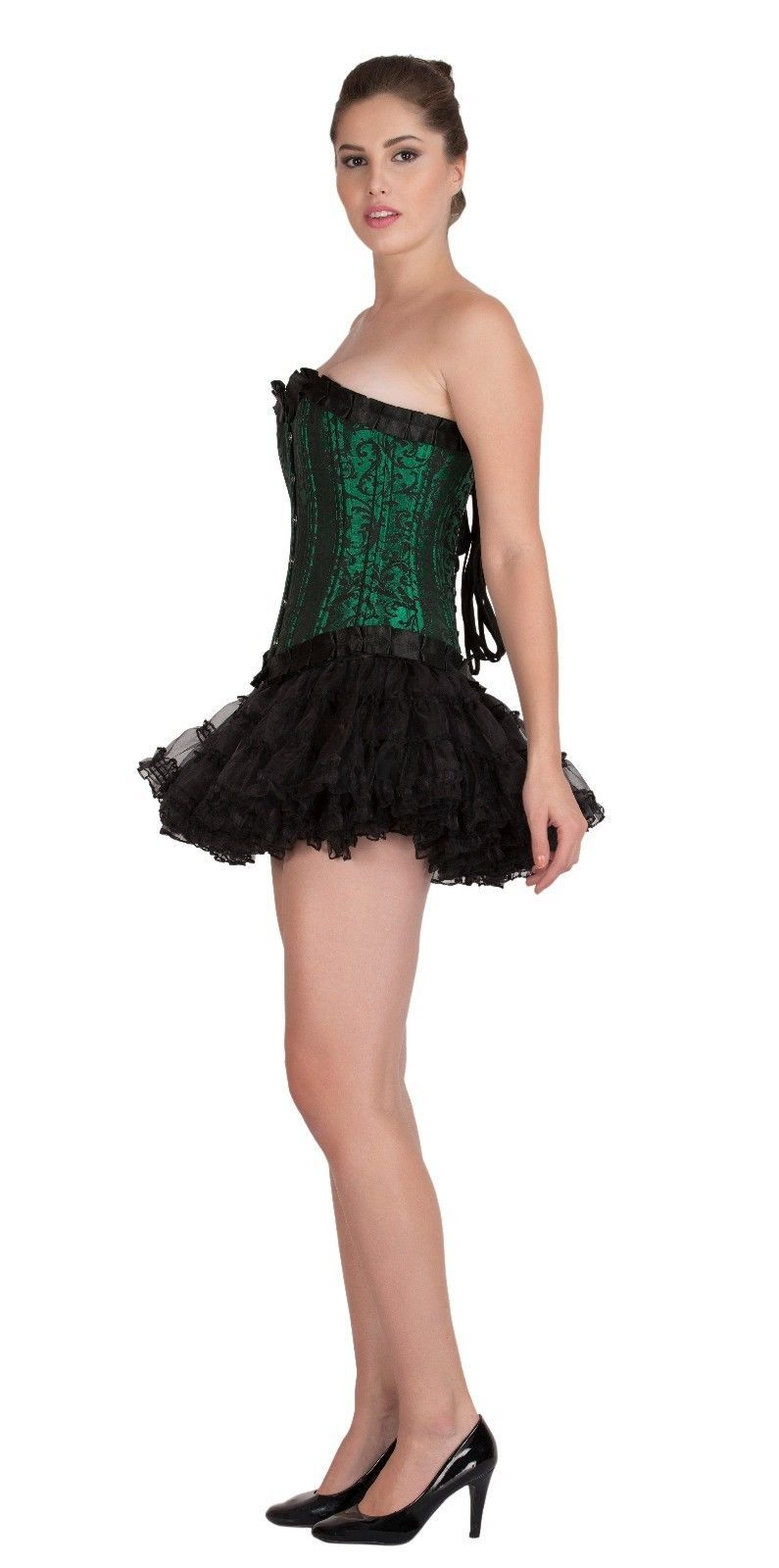 Green Black Brocade DOUBLE BONE Halloween Costume Bustier Overbust Corset Top