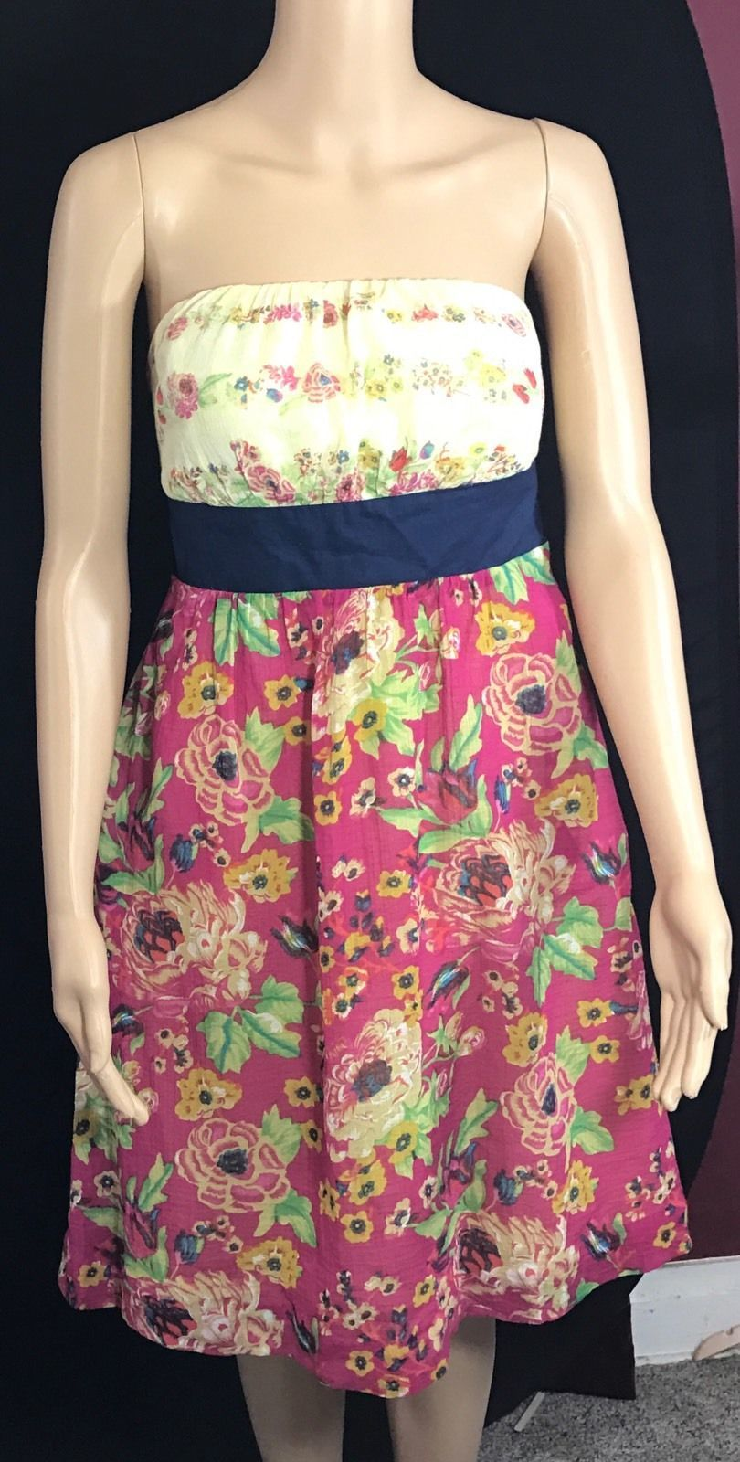 Womens MAEVE Sz 6 Anthropologie Pink Yellow Floral Strapless Cotton Dress