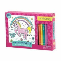 """Mudpuppy Magical Einhorn Crayons Color-In 24 Teile 7 """" Puzzle Toy Alter 3+ Nip"""