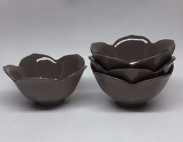 Pier 1 Lotus Brown Cocoa Scalloped Soup Cereal Bowl SET OF 4 - $23.36