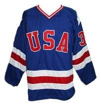 Custom Name # Team USA Retro Hockey Jersey New Sewn Blue Morrow #3 Any Size image 1