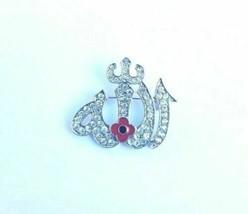 Stunning Diamonte Silver Plated AllahPoppy Muslim Islam British India Br... - $13.99