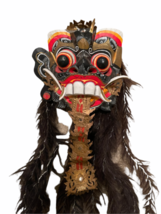 "Vintage Asian Tribal Mask Hand Carved Wood Wall Art East Java Indonesia 41x11"" image 2"