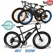 Emojo FAT BIKE Electric Bicycle 500W 48V e-bike 26 x 4.0 Lithium 25 Mile... - $1,199.00