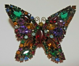 Vintage Unsigned WEISS Butterfly Brooch Multi-color Rhinestones - $135.00