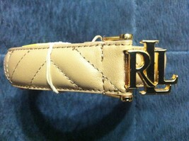 "RALPH LAUREN WOMENS NEW CREAM LEATHER BELT SIZE:XL  WIDTH:1 1/8""  LENGTH... - $70.13"