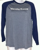 OLD NAVY Shirt HIBERNATING 'TIL SUMMER Gray Blue L 10-12 Youth Top Long ... - $14.95
