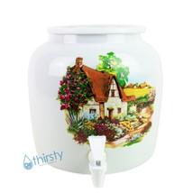 Water Crock Dispenser Home Cottage Ceramic Porcelain Pot Spigot Faucet Valve New - $54.44