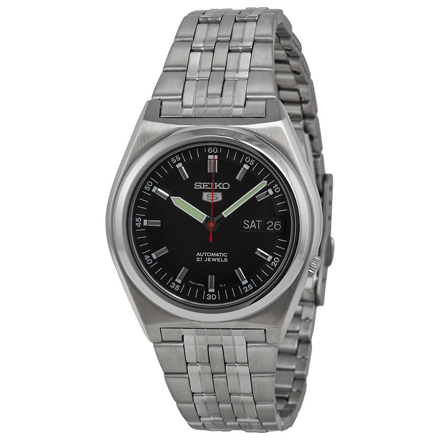 Seiko 5 Mechanical Automatic Mens Retro day date black dial SNk649