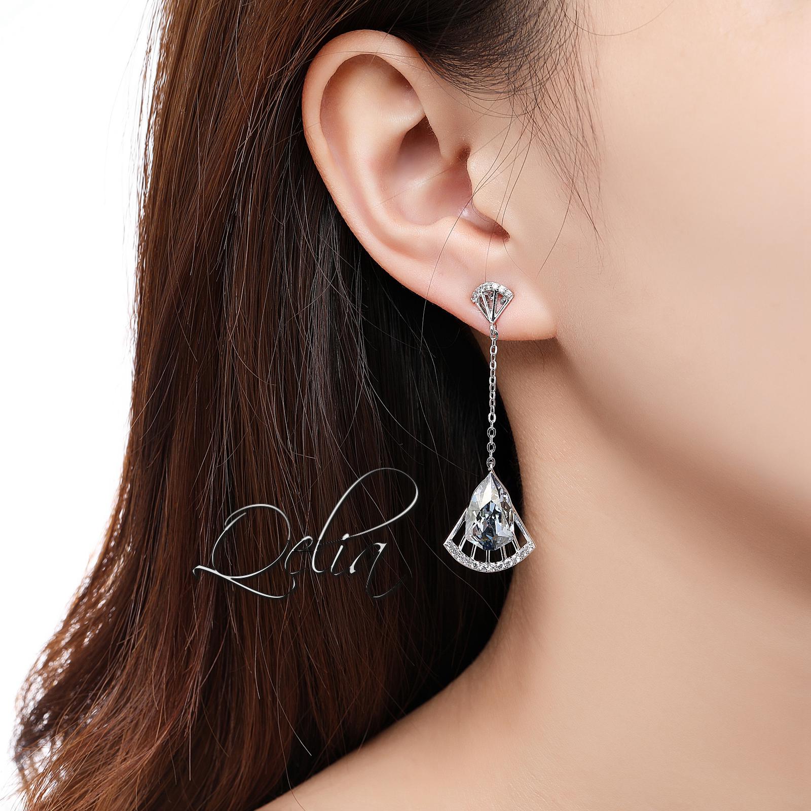 Stylish Long Fan Shape Drop Earrings Women Party Shining Blue Austrian Crystals