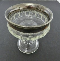 Indiana Glass Clear with Silver Band Flashing  Kings Crown Wedding Dish ... - $14.73