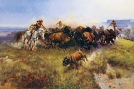 The Buffalo Hunt by Charles Russell Bison Native American 18x12 Canvas Print - $127.71