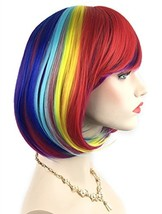 Rainbow Bob Wigs and A Wig Cap- Women's Short Straight Multi-Color Cosplay Wigs