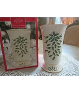 "LENOX CHINA PIERCED HOLIDAY VASE CANDLE HOLDER AMERICAN BY DESIGN 8"" NIB... - $24.70"