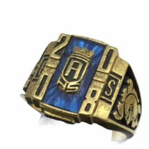 Vtg Class Ring 6 Lot Yellow Gold Tone Metal Semi Precious Red Blue Green 42.1gr image 3