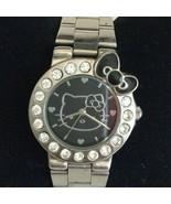 Ladies Sanrio HELLO KITTY Rhinestone Silver Tone Watch New Battery - $13.36