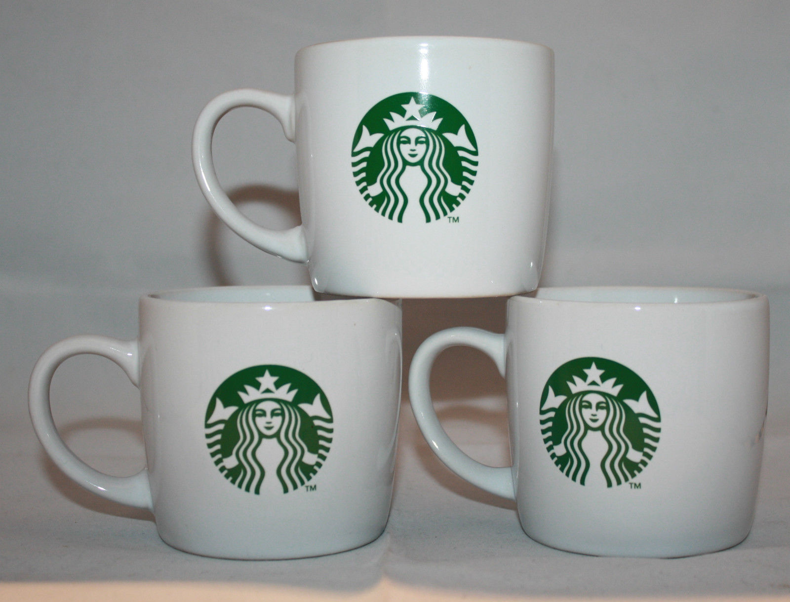 Primary image for Starbucks Coffee 3 White Mermaid Logo Coffee/Tea Mug Cups 7.8fl.oz / 230ml AS-IS