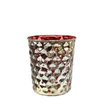 """Northlight 4 Red Silver Hammered Mercury Glass Votive Candle Holders 4"""" - £15.06 GBP"""
