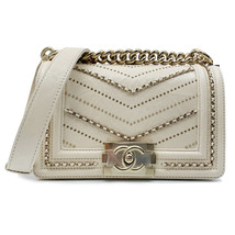 Chanel Crumpled Calfskin Small Ivory Boy Handbag A67085 Y83967 10800 - $6,500.00