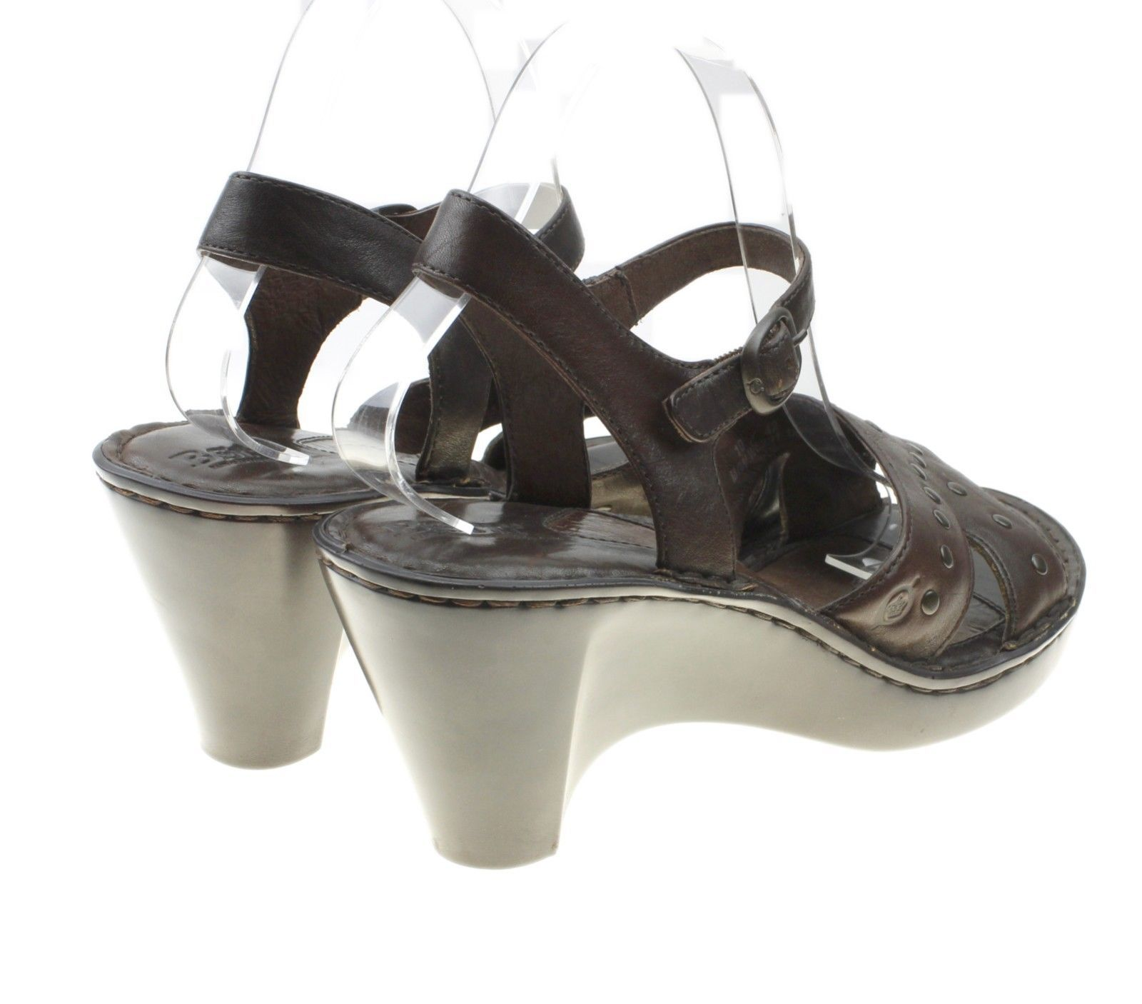 Born W6231 Brown Leather Studded Platform Sandals Women's Size 10
