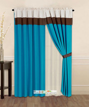 4-Pc Striped Solid Modern Curtain Set Turquoise Brown Beige Valance Line... - $30.74