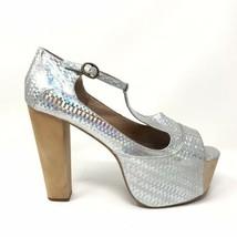 Jeffrey Campbell Womens Sz 9.5 Foxy Wood Holographic T-Strap Platform Heels - $65.44