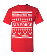 US Air Force Ugly Sweater Design American Flag Christmas Men's Tee Shirt... - $8.87+
