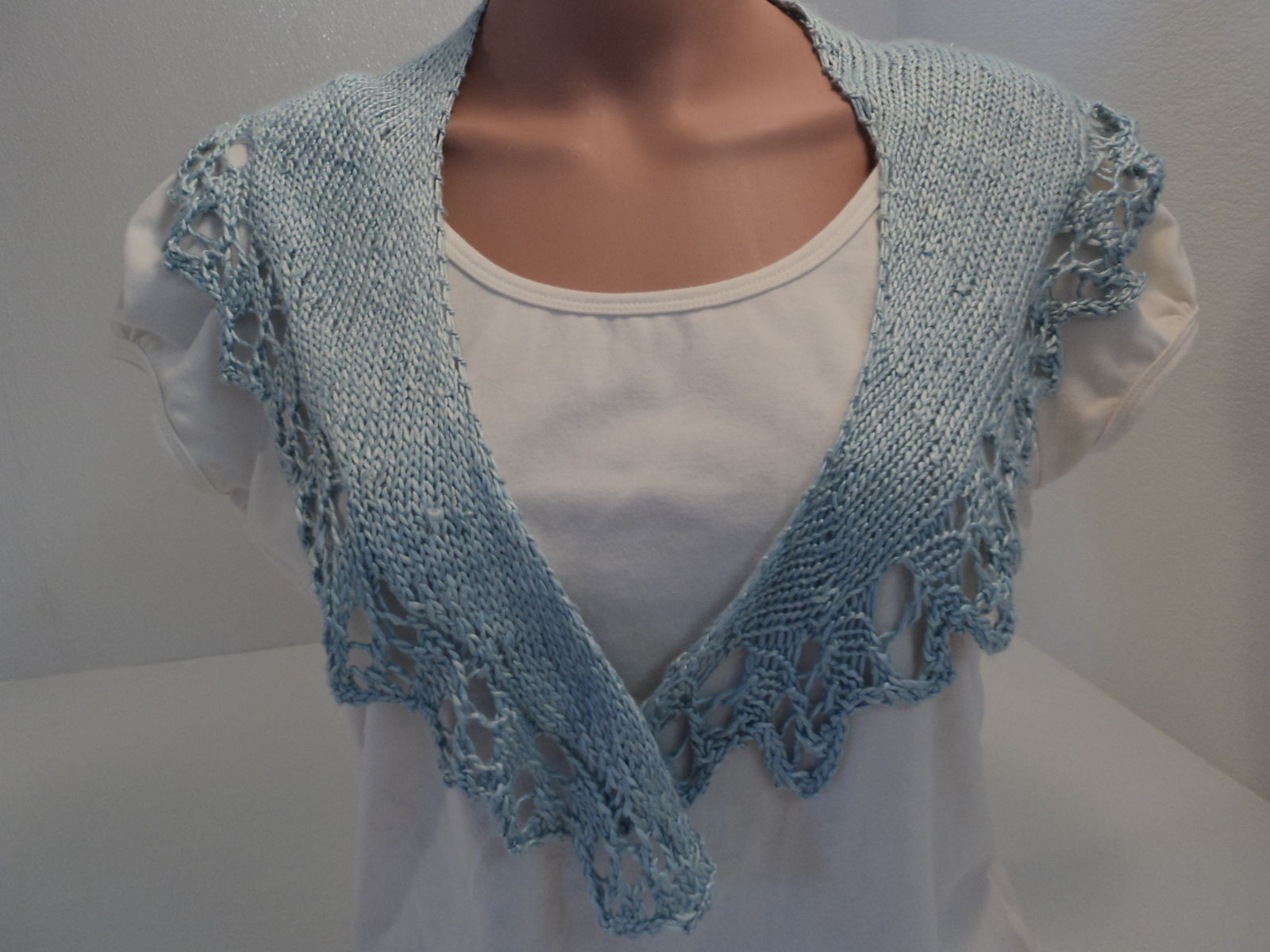 Handcrafted Scarf Blue Silk Lace Edging 100% Silk Female Solid