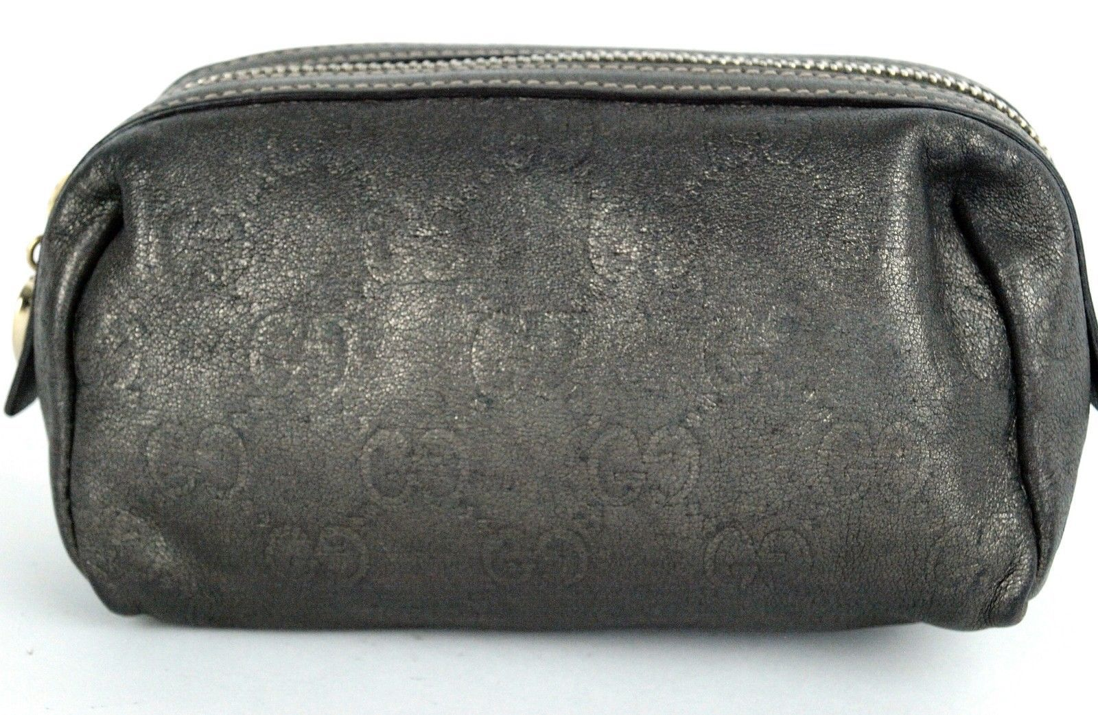 AUTH GUCCI GG GRAY SILVER LEATHER MINI COSMETIC POUCH ACCESSORIES PURSE VINTAGE