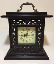 Drawer Pull Table Shelf Mantle Square Box Clock Dark Wood Laser Cut Flor... - $39.38