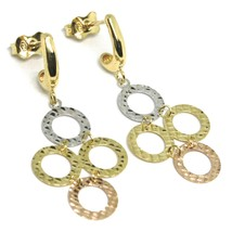 Drop Earrings Yellow Gold, Pink and White 750 18k, Circles Worked, Set image 1