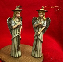 Christmas Angel Ornament Figurine Pair - Enesco - Set of 2 - Date to the... - $22.77