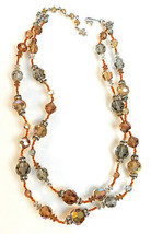 Vintage Signed Vendome Crystal Glass Beaded & Rhinestone Double Strand Necklace - $64.35