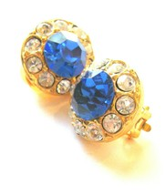 Faux Blue Sapphire & Rhinestone Button Clip Earrings - $19.00
