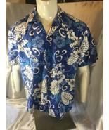 HILO HATTIE Large Hawaiian Aloha Shirt Blue & White Floral - $24.74
