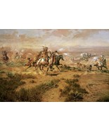 The Attack On The Wagon Train Charles Russell Native American Western 36x24 - $261.36