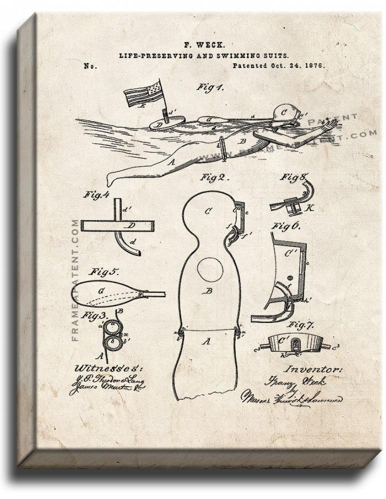 Primary image for Life Preserving And Swimming Suits Patent Print Old Look on Canvas