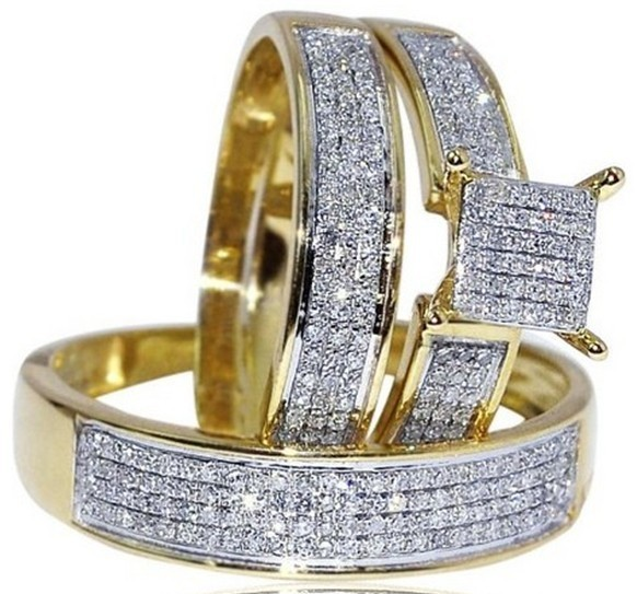 Round CZ 14k Yellow Gold Fn. 925 Silver His & Her Trio