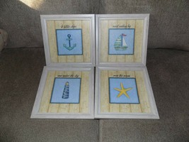 HOME INTERIORS ROMA DOWNEY NAUTICAL 4 LITTLE SHIPS......... SET OF 4 PIC... - $39.78