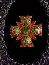 Vintage rhinestone Cross choker / statement necklace / emmons Rhinestone... - $155.00